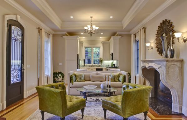 Functional and traditional family room design with green furnishings