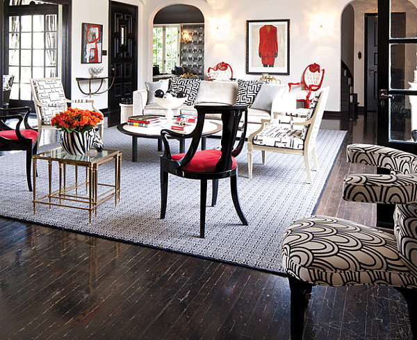 Glamorous black, red and white living room