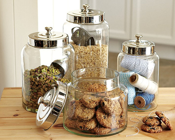 Glass canisters with metal lids