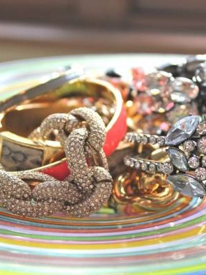 Glass dish of bracelets
