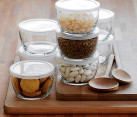 Glass food storage bowls with BPA-free lids