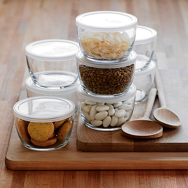 View In Gallery Glass Food Storage Bowls With BPA Free Lids