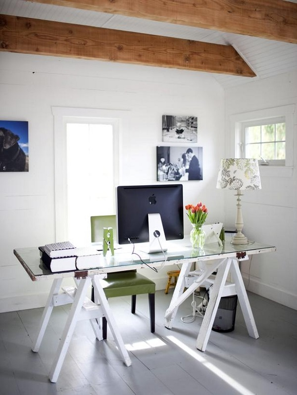 Glasstop desk with workhorse legs More DIY Desk Ideas for a Posh Home Office