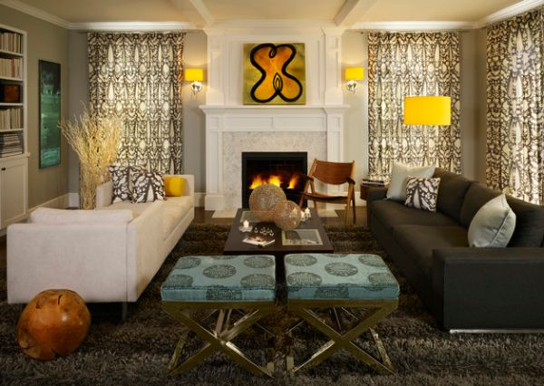 Gloden yellow lamp shade brings in some much needed color into this family room