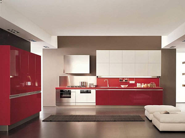 Glossy red and white kitchen