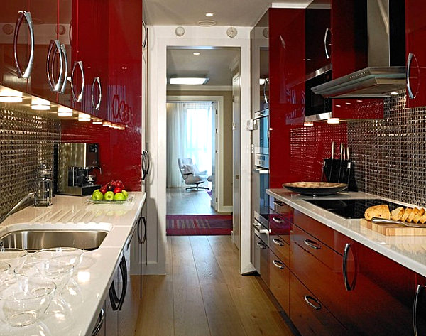 Glossy red cabinets in a modern kitchen