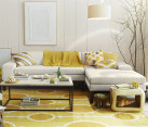 Golden yellow dhurrie rug