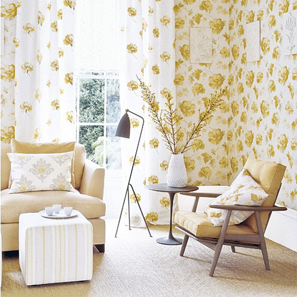 Golden yellow living room accents