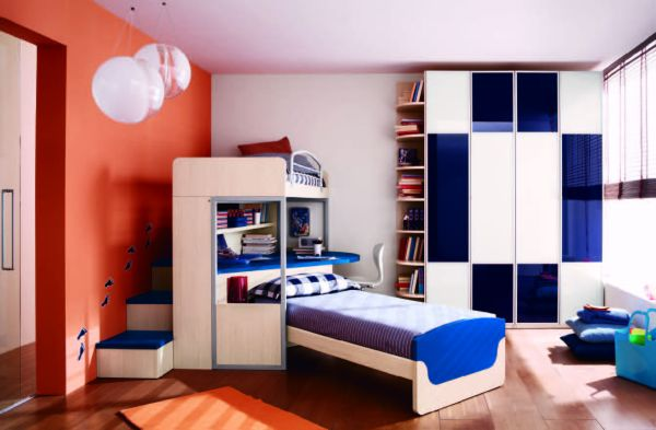 Gorgeous and modern boys bedroom with beautiful blue accents