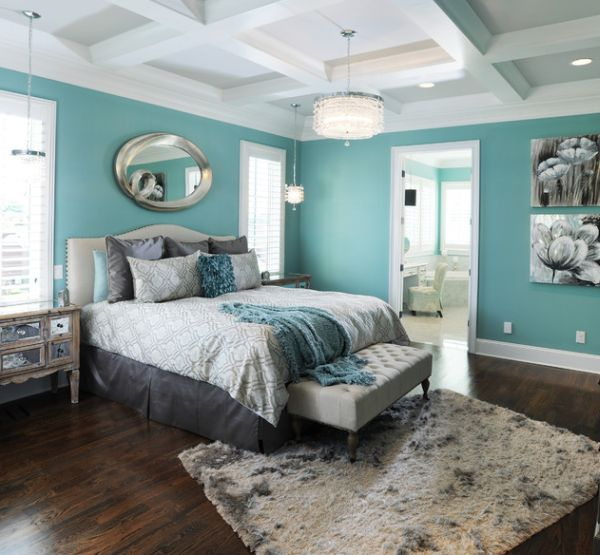 Gorgeous bedroom in  exquisite aqua blue