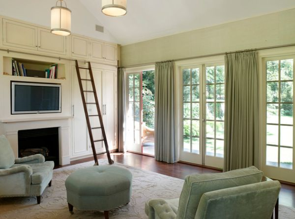 Gorgeous drapes with a tinge of green go along well with a sliding door design as well!