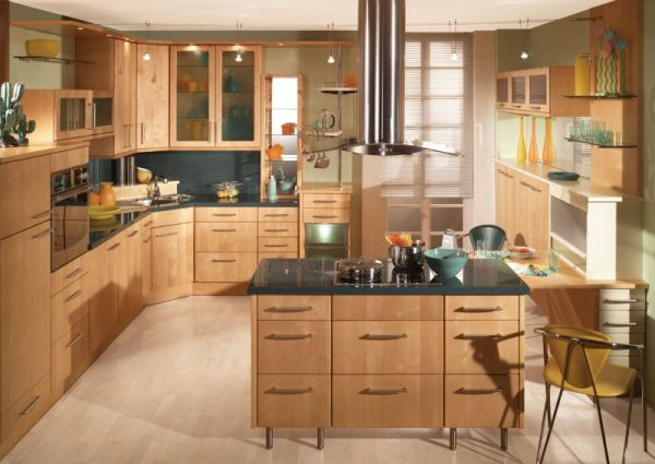 Gorgeous kitchen draped in wooden tones with a corner sink