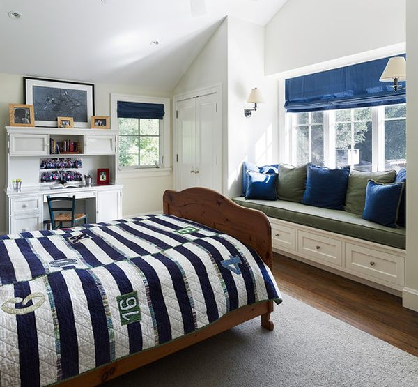 Green, blue and white boys' bedroom - A refreshing and rare combination!