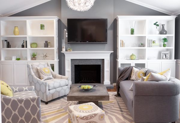 Grey living room with pops of soft color in yellow and green for Green and gray living room