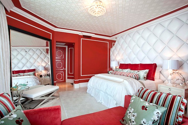 Hollywood Regency red bedroom
