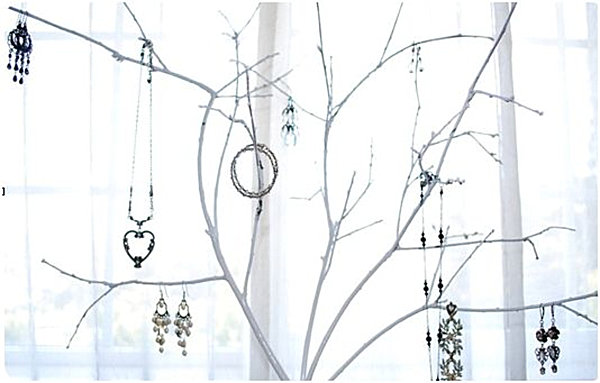 Homemade jewelry tree
