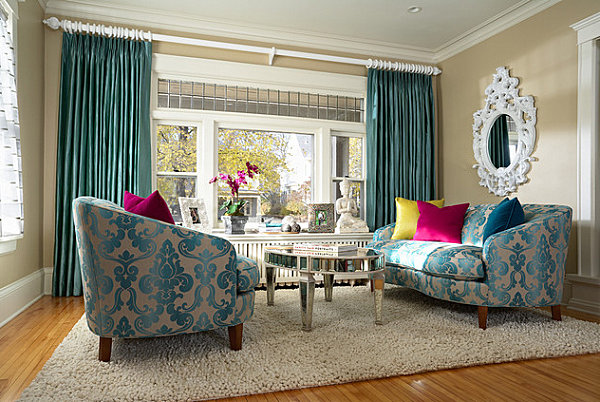 Jewel tones and brocade in a glamorous living room