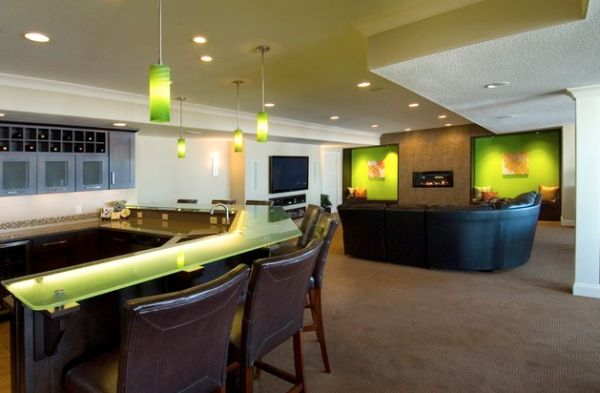 LED lighting in green used as accent shade in an open living room and kitchen