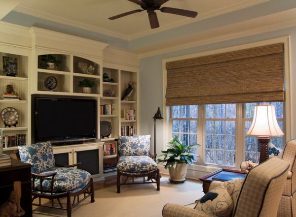 Large shade adds wooden hues to the family room