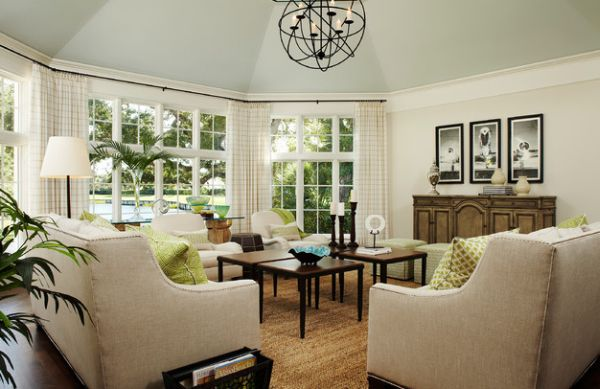 Let the natural green outside be a part of your interior green accents through gorgeous windows