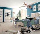 Let your kid fly high with aviation themed bedroom in white and blue