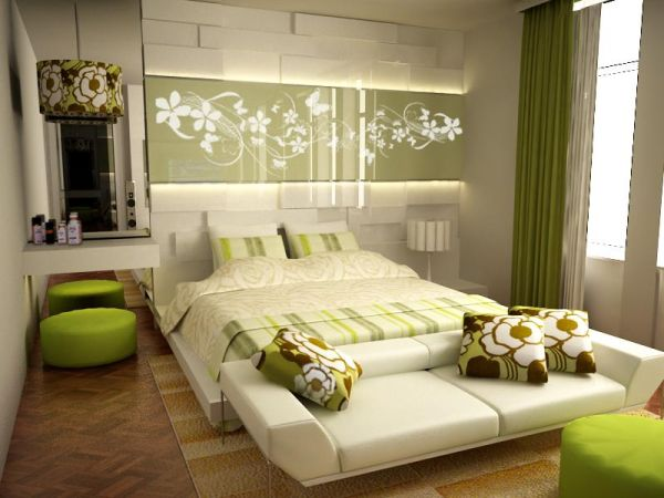 Lighter hues of green along with cream create a relaxed setting