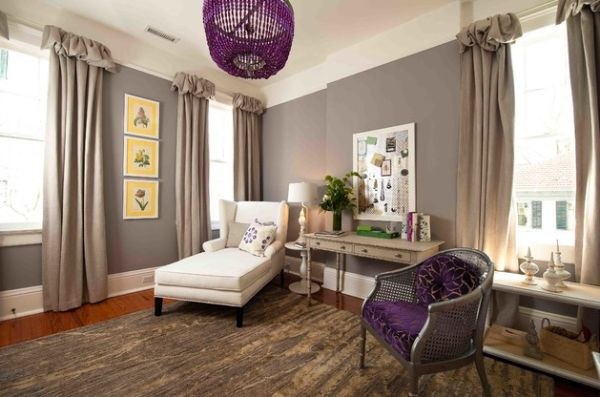 Lighting fixtures bring in purple accents in an unusual fashion