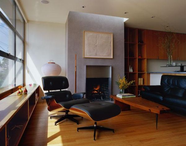 Living room with Eames Lounger turned away from the view outside
