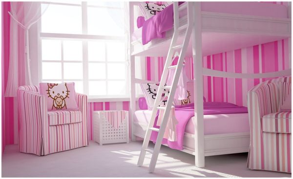 Lovely white and pink girls' bedroom with bunk beds for the space conscious home