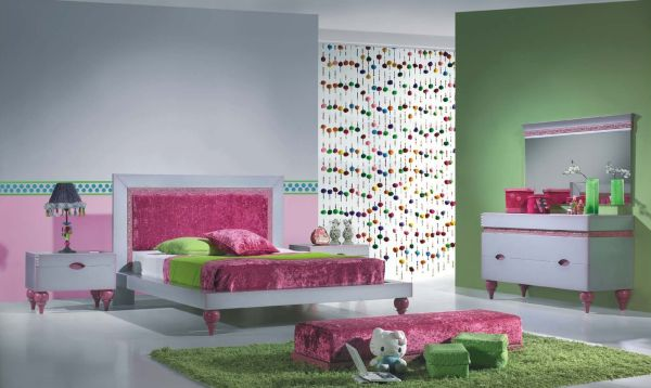 Luxurious looking girls' bedroom with a multitude of shades