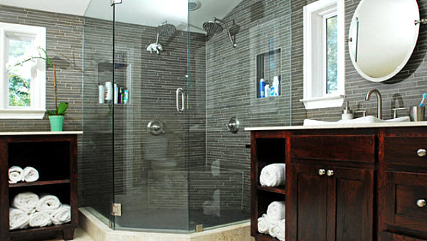 Masculine-bathroom-in-gray Narrow Bathroom Designs Black And White on black white grey bathroom, bathtub designs, black and white living room, black and shower designs, black and white shower curtain, black and white dining room design, black themed bathrooms, black and white furniture design, black and white wallpaper designs, black and white tile designs, black and kitchen designs, black ceiling in bathroom, black white bathroom wallpaper, black and white small kitchen, black and white decorative design, black bathroom ideas, black and white pool, pretty black and white designs,