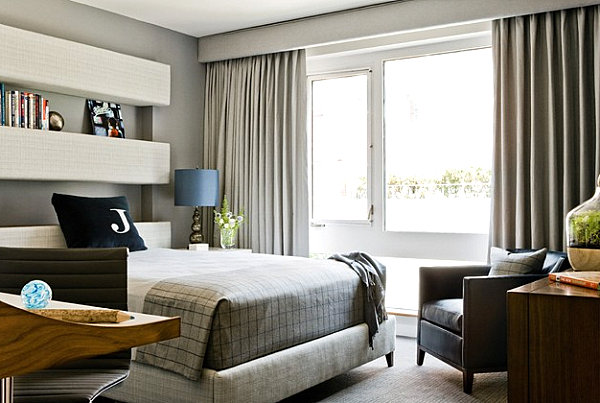 Masculine bedroom with interesting details His and Hers: Feminine and Masculine Bedrooms That Make a Stylish Statement