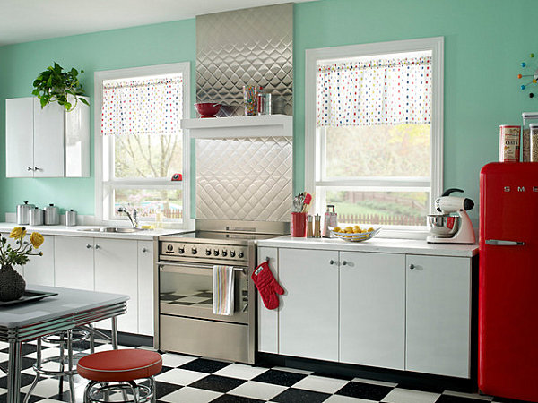 metal backsplash and canisters in a retro kitchen decoist