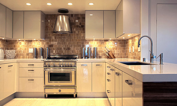 Metallic canisters in a modern kitchen