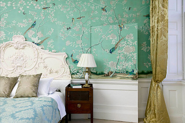 Mint wallpaper in a Chinoiserie-style bedroom
