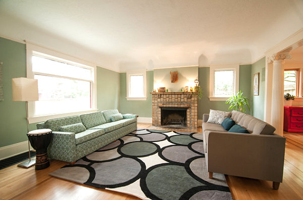 Minty green living room