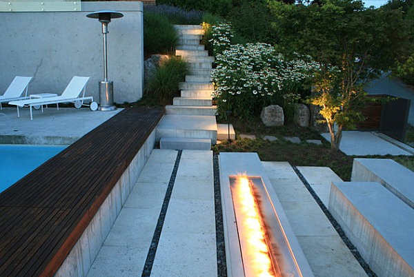 Modern concrete outdoor fireplace