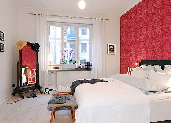 Modern eclectic red and white bedroom