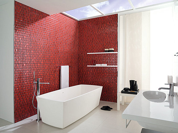 Modern red and white bathroom