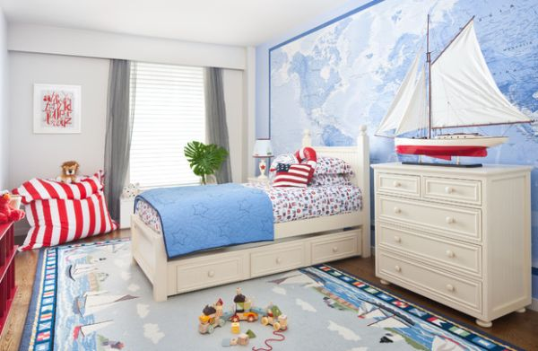 Nautical themed kids room with stars and stripes thrown in for good measure!
