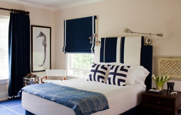 Navy blue and white make a rich refined and bold for Bedroom ideas navy blue
