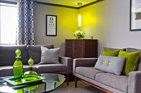 Olive green details in a modern living room