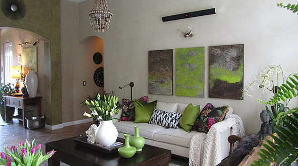 Olive green touches in a living room