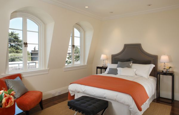 Orange is an ideal choice for rooms that largely employ grey and white