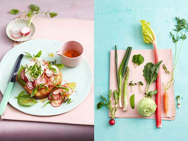 Pastels and fresh food
