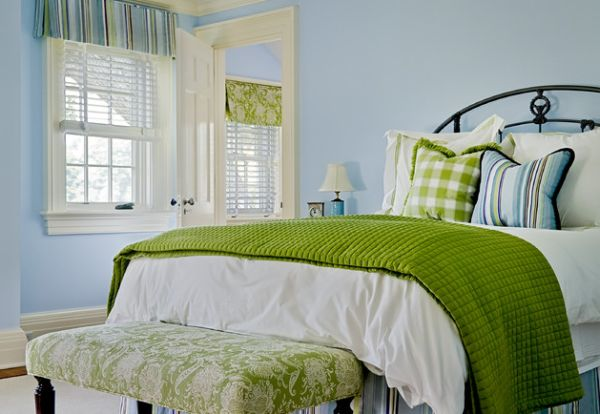 Perfect example of using fabric accents in the bedroom