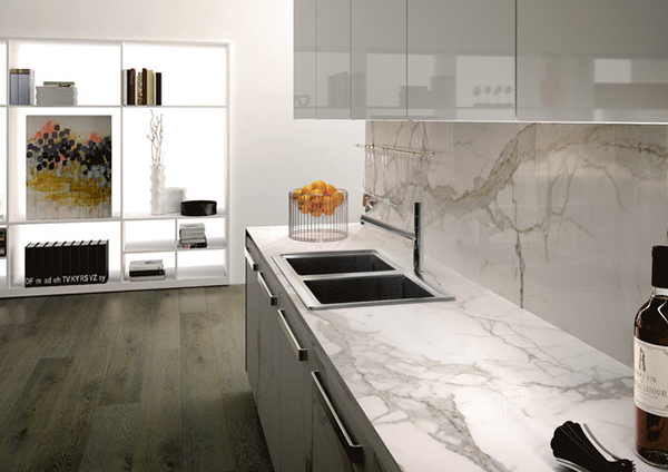 View In Gallery Porcelain Calacatta Kitchen Countertops