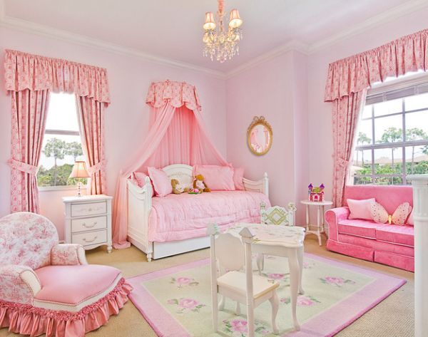 Stylish girls pink bedrooms ideas for Princess themed bed