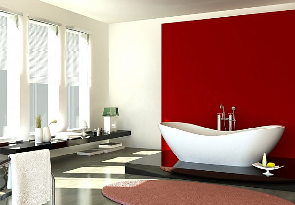 red accent wall in the bathroom ForRed Accent Bathroom