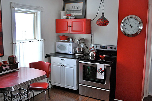 Red and white modern kitchen